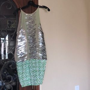 Green sequence & beaded cocktail dress